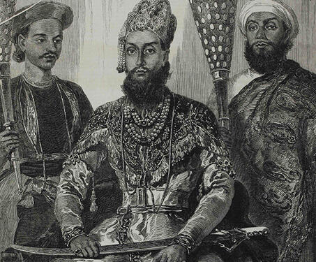Prince Fakhr-ud Din Mirza of Delhi attended by his Treasurer and Physician - 1857, Delhi, Delhi Sultanate, East India Company, Etchings and Engravings, Indian history, Indian princes