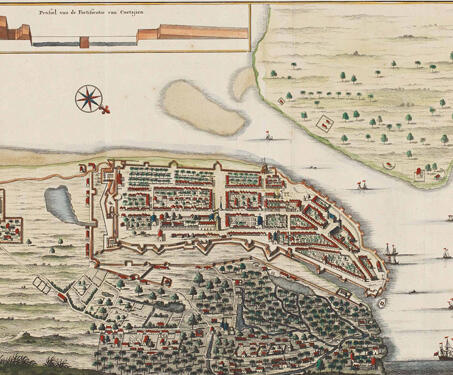 The City of Kochi located on the coast of Malabar - 18th century, Coastal maps, Dutch East India Company, Kerala, Kochi, Maps