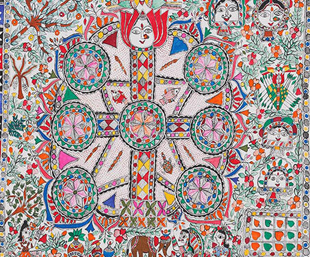 Untitled [Kohbar and Religious episodes] - Bihar, Kohbar, Madhubani, Mithila art, Ritual painting