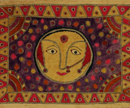 Untitled - Aripana, Bharni painting, Goauche and Ink on paper, Madhubani Painting, Mithila painting, Natural colours