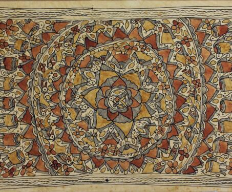 Untitled (Godna style) - Brahmin, Dalit, Dusadh, Godna painting, Madhubani Painting, Mithila painting, Moti Karn, Natural colours, Satya Narayan