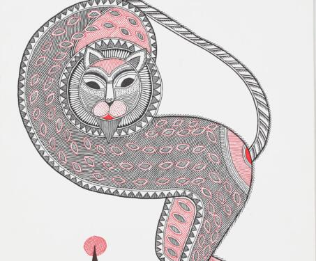 Untitled (Lion) - Bihar, Indian indigenous art, Indian Mythology, indigenous and Tribal Art, Madhubani, Mithila art, Santosh Kumar Das