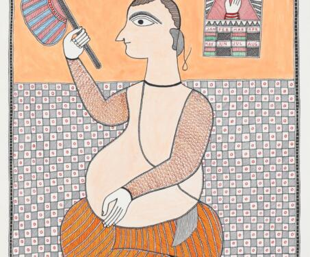 Untitled (Man with a Pankha) - Bihar, Indian indigenous art, Indian Mythology, indigenous and Tribal Art, Madhubani, Mithila art, Santosh Kumar Das