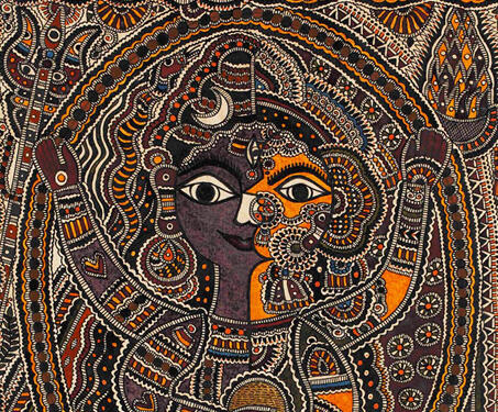 Ardhanareshwar - Gods and Goddesses, Madhubani Painting, Mithila painting, Moti Karn, Natural colours, Satya Narayan, Shiva-Parvati