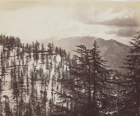 Shimla in Winter; Mountains and Clouds, looking South of Shimla - 19th Century Photography, British India, Himalayas, Samuel Bourne