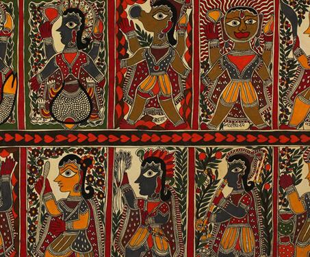 Untitled (Dasavatar) - Balram, Baua Devi, Dasavatar, Krishna, Kurma, Lord Vishnu, Madhubani Art, Matsya, Mithila art, Narasimha, Parshuram, Ram, Varaha