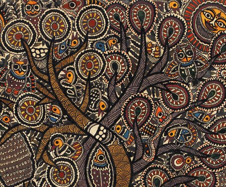 Untitled (Tree of Life) - Botany, Madhubani Painting, Mithila painting, Moti Karn, Natural colours, Satya Narayan