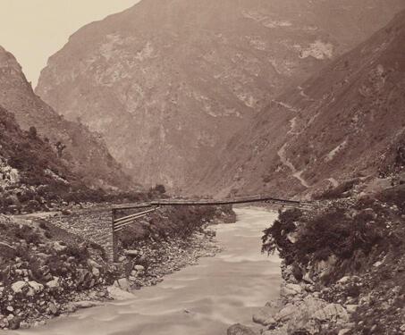 View on a Stream at Larji, Kullu, - Samuel Bourne