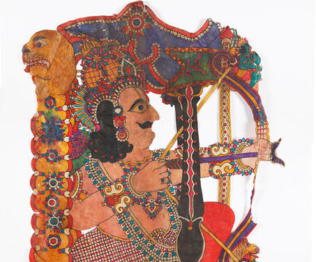 Arjuna on Ratha - Indian Mythology, Indigenous & Tribal Art, Mahabharat, S Chithambara Rao, Shadow Puppets, tholu bommalaata