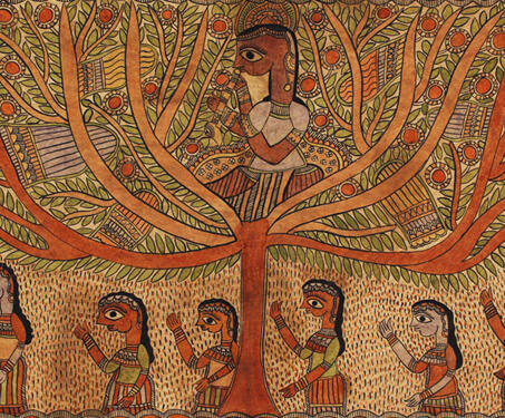 Untitled (Krishna and Gopis) - Bihar, Indian Mythology, Krishna, Lord Krishna, Madhubani, Mithila art
