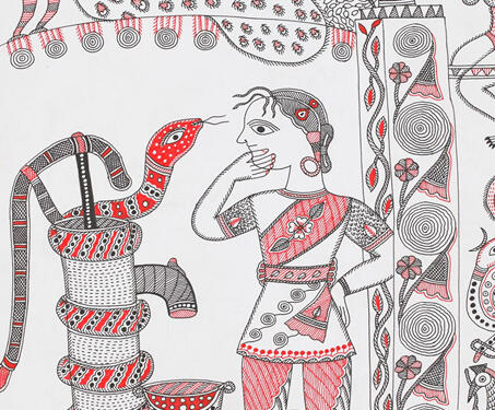 Untitled - Bihar, Ink on Paper, Madhubani, Mithila art, Santosh Kumar Das