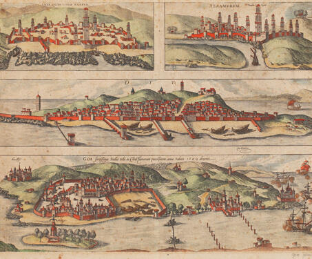 View of Anfa, Azamor, Diu and Goa from Civitates Orbis Terrarum - 16th Century, Africa, Atlas, Cartography, Coastal maps, Diu, Engraving