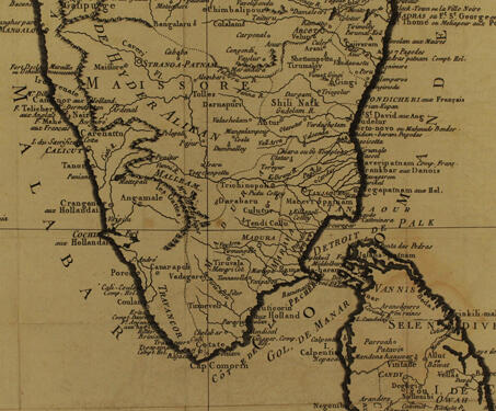 Map of South India and Ceylon -