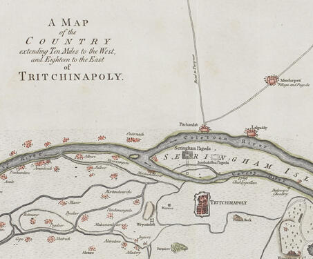 Map of Tritchinapoly - 18th century India, Carnatic wars, Cartography, South India