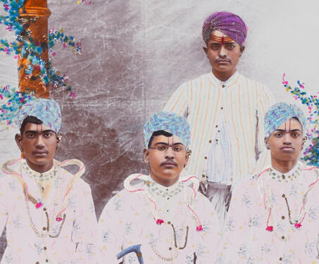 Painted portrait of an unidentified group of men, Bikaner - Bikaner, early 20th century photography, Hand-Painted Photographic Print