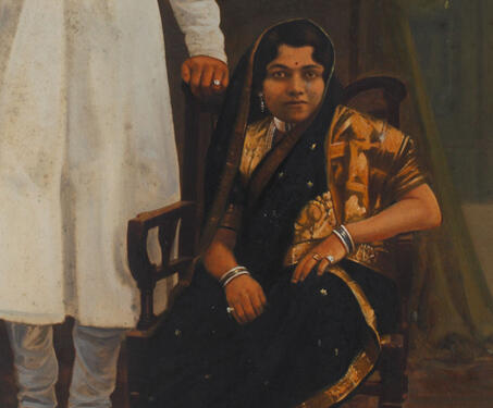 Painted portrait of an unidentified nobility, Gujarat -