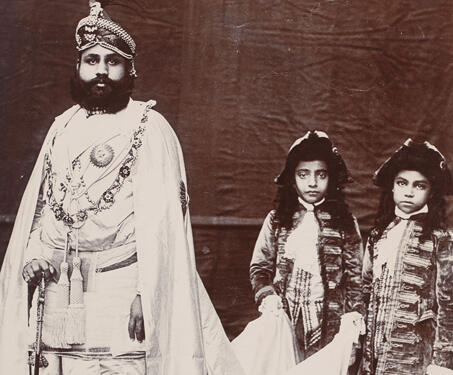 Sawai Madho Singh II, Maharaja of Jaipur and his sons Gangaji and Gopalji - 19th Century Photography, Colonial India, durbars, Jaipur