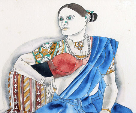 Untitled (Portrait of a Lady) - Laxma Goud, Modern Indian Art, Portrait, Watercolour