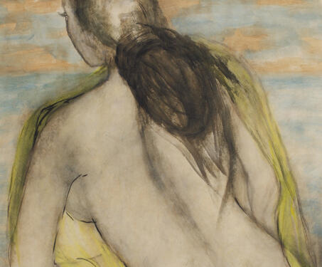 Untitled (Portrait of a nude woman) - KH Ara, Modern Indian Art, Nude portrait, Watercolour