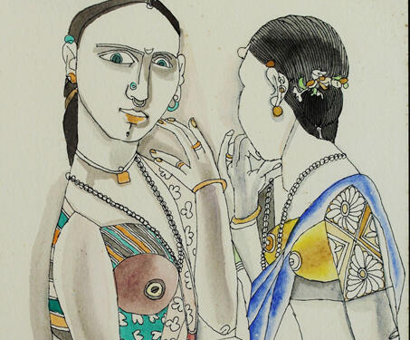 Untitled (two women) - Laxma Goud, Modern Indian Art, Portrait, Watercolour