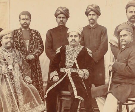 Raja Ravi Varma with Seth Lachman Das and Prince Aswathi Tirunal Marthanda Varma and courtiers - 19th Century Photography