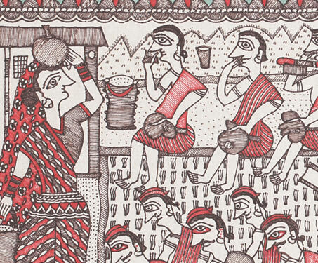 Farming - Ink on Paper, Krishnanand Jha, Madhubani Art, Mithila art