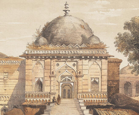 Front View of the Ruined Mosque, the Jumah Musjid - 19th century India, Captain Claudius Harris, Lithographs, Madhya Pradhesh, Mandu