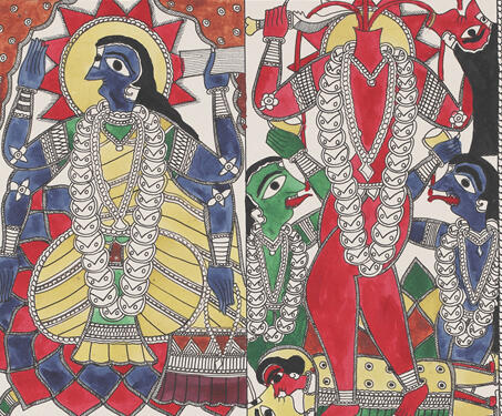 Goddess Bhairavi and Chinnamasta - Ink on Paper, Krishnanand Jha, Madhubani Art, Mithila art