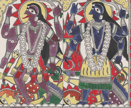 Goddess Kaali and Tara - Ink on Paper, Krishnanand Jha, Madhubani Art, Mithila art