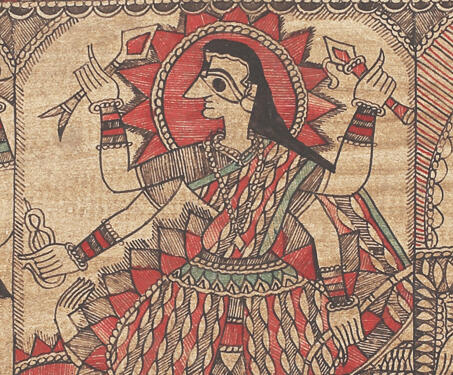 Maa Kaali - Ink on Paper, Krishnanand Jha, Madhubani Art, Mithila art
