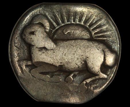 Jahangir, Aries Zodiac Silver Rupee - Jahangir, Mughal Coinage, Mughal India, Silver Coin