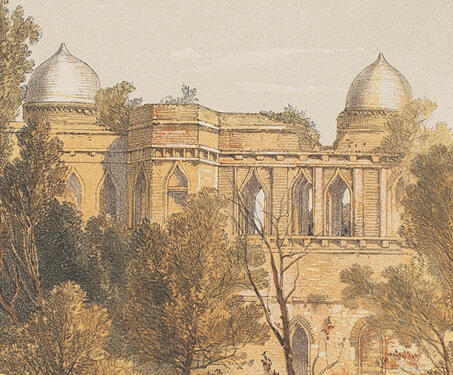 Palace of the Sultan Baz Bahadoor, and Pavilion of Roop Muttee, his Queen - 19th century India, Captain Claudius Harris, Lithographs, Madhya Pradhesh, Mandu