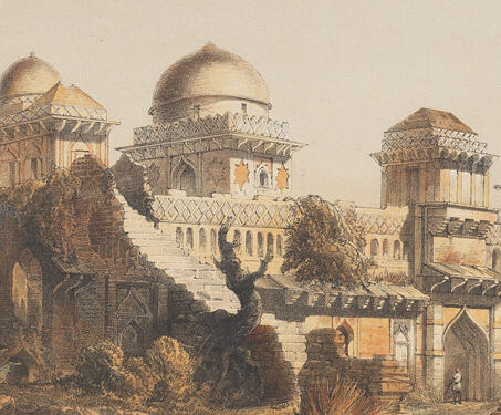 The Jahaz Mahal, Mandu - 19th century India, Captain Claudius Harris, Lithographs, Madhya Pradhesh, Mandu