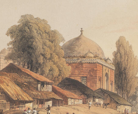View of the Modern Village of Mandoo and the ancient mosque Jumah Musjid - 19th century India, Captain Claudius Harris, Lithographs, Madhya Pradhesh, Mandu