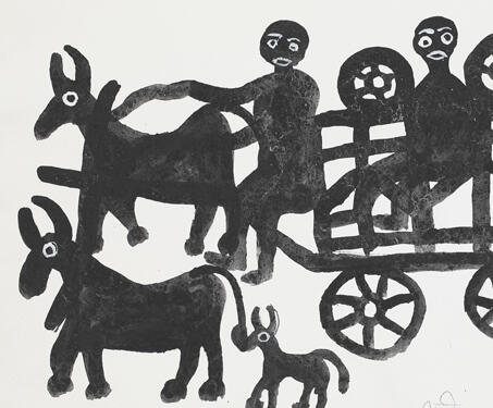 Untitled (Horse Cart) - Bhil Art, Bhopal, Lado Bai, Madhya Pradesh, Pithora Art