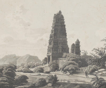 Pagodas at Maugry with a distant view of Sewandroog - Etchings & Engravings