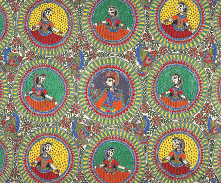 Untitled (Ras Leela and other episodes from the Bhagwat Purana) - Indigenous & Tribal Art