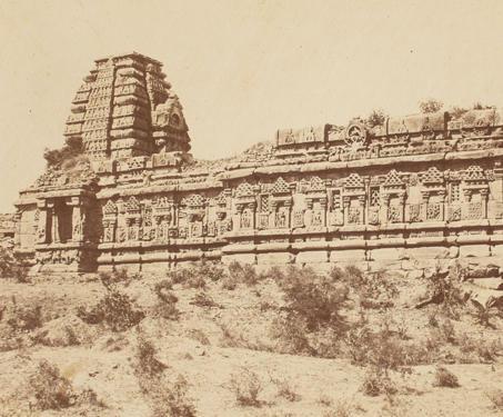 Ruined Temple built into the village wall, Purudkul (Papanatha Temple, Pattadakal) - 19th Century Photography, Karnataka, Sacred Spaces, Shiva-Nandi, Temple Architecture, William Henry Pigou